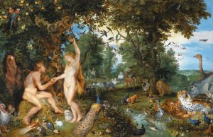 The garden of Eden with the fall of man *oil on panel *74.3 × 114.7 cm *signed b.l.: PETRI PAVLI RVBENS FIGR. *signed b.r.: IBRUEGHEL FEC *circa 1615
